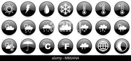 Weather forecast climate meteorology glossy vector icons - Stock Photo