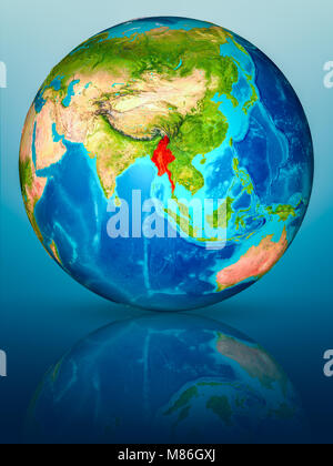Myanmar in red on model of planet Earth on reflective blue surface. 3D illustration. Elements of this image furnished - Stock Photo
