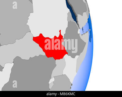 Burundi in red on model of political globe with transparent oceans. 3D illustration. - Stock Photo