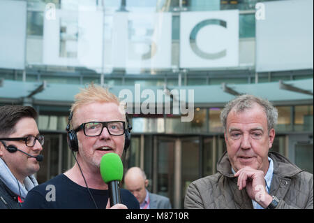 BBC Broadcasting House Piazza, Portland Place, London, UK. 21st May 2015.  Jeremy Clarkson and DJ Chris Evans take - Stock Photo