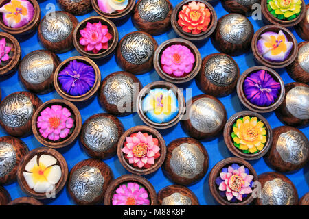 Thailand; Chiang Mai, night market, carved soaps, souvenirs, - Stock Photo