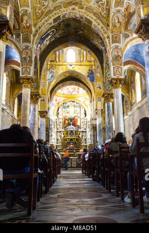 Ceiling with the Byzantine mosaics and the Christ Pantocrator in Church of Martorana. Palermo, Sicily. Italy - Stock Photo