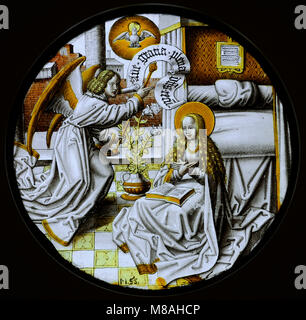 Annunciation. Lower Rhine, Germany, c. 1520. Stained glass. Schnütgen Museum. Cologne, Germany. - Stock Photo
