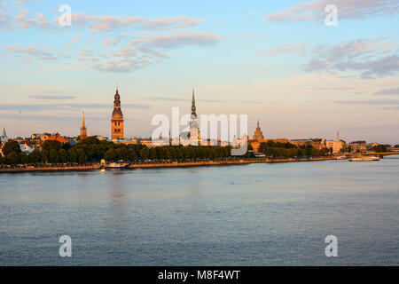 The cityscape of the old town of Riga and Daugava (Western Dvina) river, Latvia. Medieval architecture, Gothic style - Stock Photo