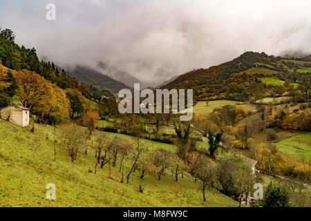 St Christine of Lena is a pre romanesque church in the province of Asturias Spain with beautiful mountains and valleys - Stock Photo