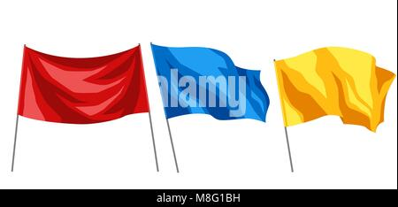 Set of multicolored flags on white background - Stock Photo