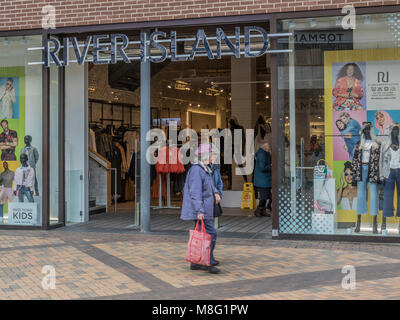 River Island clothing retailer in Stockport Town Centre Shopping area, Merseyway - Stock Photo