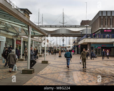 pedestrianized shop shops shopper shoppers merseyway people walking in Stockport Town Centre Shopping area - Stock Photo