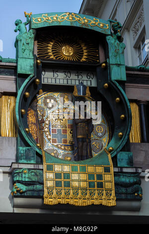 The Anchor Clock (Ankeruhr) with historical figures in Vienna - Stock Photo