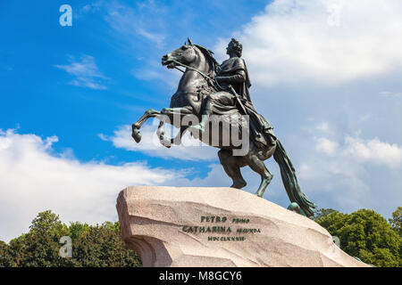 St. Petersburg, Russia - July 31, 2017: Equestrian monument of Russian emperor Peter the Great (Peter First), known - Stock Photo