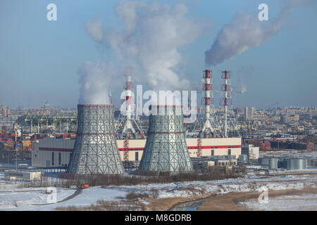 Smoking chimneys air pollution thermal power station - Stock Photo