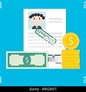 Financial credit is approved. Mortgage loan to real estate, loan finance, mortgage flat concept. Vector illustration - Stock Photo