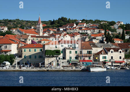 Old stone houses in village Postira on Brac island - Stock Photo