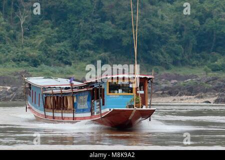 River bus, Mekong River, Laos - Stock Photo