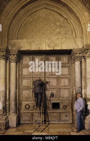 Wajeeh Nuseibeh, a Muslim whose family has opened and closed the Holy Sepulcher since the Ottoman era closing the - Stock Photo