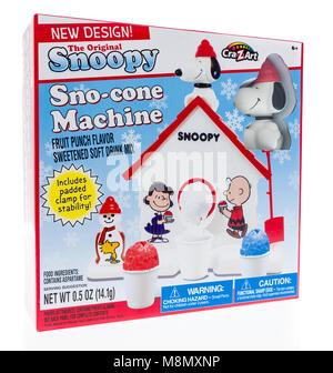 Winneconne, WI - 13 March 2018: A box of The original Snoopy Sno-cone Machine by Cra-z-art on an isolated background. - Stock Photo