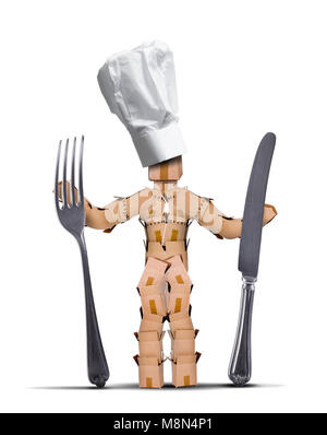 Chef box character with tall chef hat holding big knife and fork against a white background. Cooking and kitchen - Stock Photo