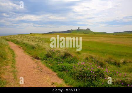 Dunstanburgh Castle Northumberland North East England with coast path - Stock Photo