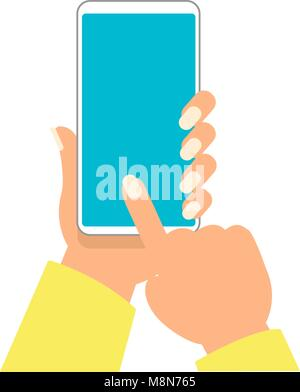 hand of woman is holding smartphone and pointing on the blank screen for add object vector illustration - Stock Photo