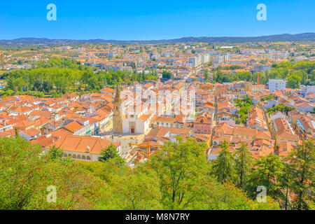 Aerial view of Tomar cityscape and Praca da Republica, the main square with Town Hall and Church of Saint John the - Stock Photo