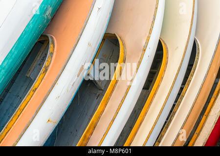Newport Sailboats waiting for restoration at the International Yacht Restoration School, Newport, Rhode Island - Stock Photo