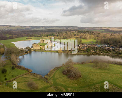 Aerial view of Leeds Castle, in the Weald of Kent, UK - Stock Photo