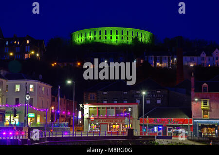 Night view of Oban bay, Scotland - Stock Photo