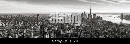 Aerial panoramic view of Lower Manhattan in Black and White. New York City - Stock Photo