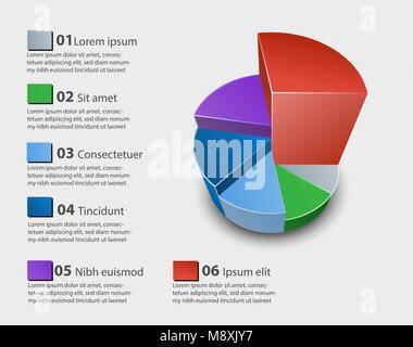 Creative vector colorful 3D pie chart - Stock Photo