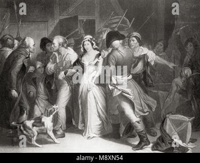 Marie Antoinette being led to execution during the French Revolution, 1793.  Marie-Antoinette-Josèphe-Jeanne d'Autriche - Stock Photo