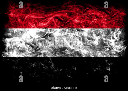 Yemen smoke flag - Stock Photo