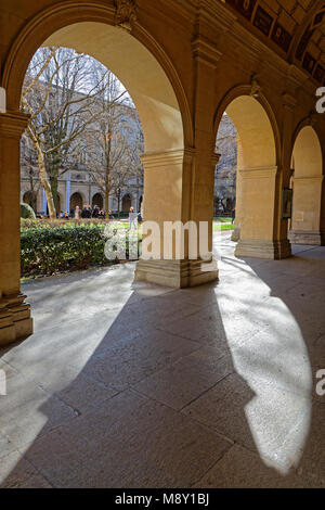 LYON, FRANCE, March 11, 2018 : Gardens of the Museum of Fine Arts of Lyon (in French, Musee des beaux-arts de Lyon), - Stock Photo