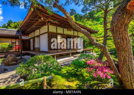Kannon-Hall at popular landmark Ginkaku-ji Temple or Silver Pavilion in spring season with blue sky. Ginkakuji officially - Stock Photo