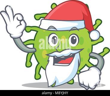 Santa green bacteria mascot cartoon - Stock Photo