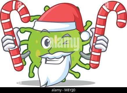 Santa with candy green bacteria mascot cartoon - Stock Photo