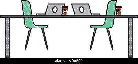 table chairs laptop computers and disposable coffee cups - Stock Photo