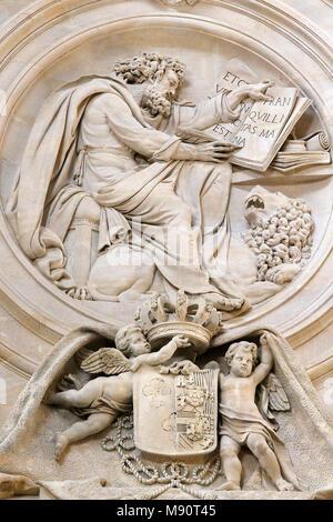 Notre-Dame du Val-de-Grace catholic church, Paris, France. Holy sacrament chapel. Relief depicting St Mark writing the gospel. - Stock Photo