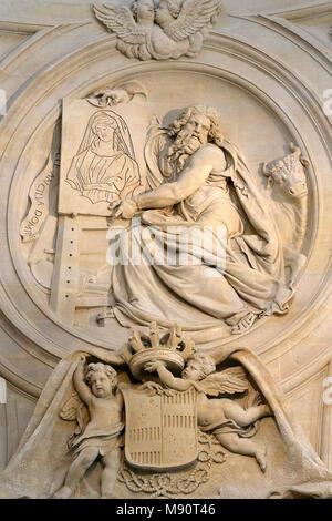 Notre-Dame du Val-de-Grace catholic church, Paris, France. Holy sacrament chapel. Relief depicting St Luke. - Stock Photo