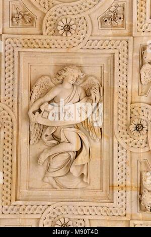 Notre-Dame du Val-de-Grace catholic church, Paris, France. Ceiling sculpture. - Stock Photo