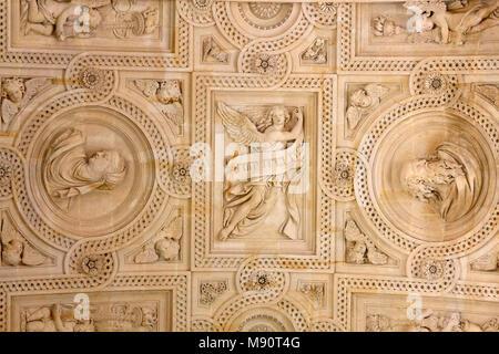 Notre-Dame du Val-de-Grace catholic church, Paris, France. Ceiling sculptures. - Stock Photo