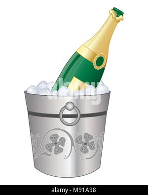 a vector illustration in eps 10 format of a bottle of champagne in a decorative silver bucket with cool ice cubes on a white background - Stock Photo
