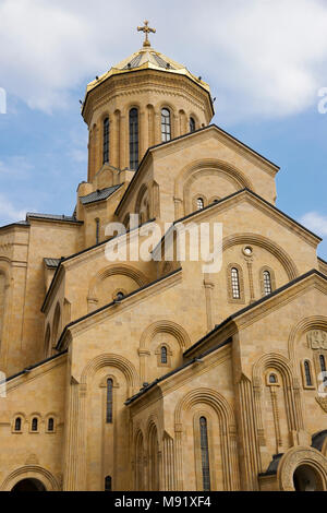 Tsminda Sameba Cathedral (Holy Trinity Cathedral), Tbilisi, Georgia - Stock Photo
