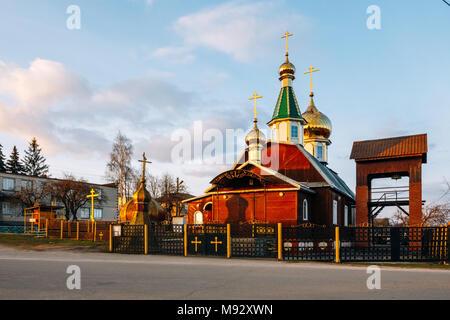 Orthodox old church of St. Nicholas in Pokolyubichy. Belarus - Stock Photo