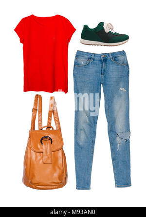 Still life of casual clothing and accessories for woman on isolated white background. - Stock Photo