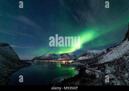 Northern Lights in Senja, Norway - Stock Photo