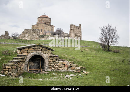 Jvari Monastery overlooking the town of Mtskheta in Georgia. - Stock Photo