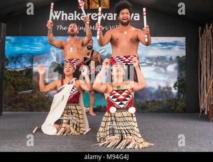 new zealand rotorua new zealand whakarewarewa rotorua maori cultural entertainment show with four maori dancers nz north island new zealand oceania - Stock Photo