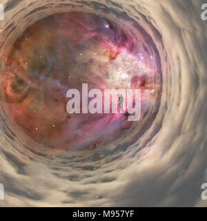Man walking in cloudy space tunnel - Stock Photo