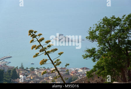 The castle of Bourtzi in Naplion, view from Palamidi castle - Stock Photo