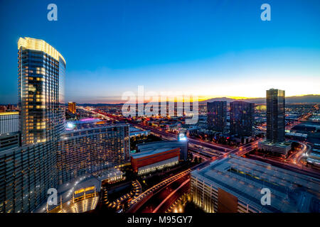 Aria Resort and Casiono viewed from 38th floor of the Vdara, Las Vegas, U.S.A. - Stock Photo
